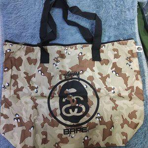 Bape x Stussy Brown Camo Tote Bag